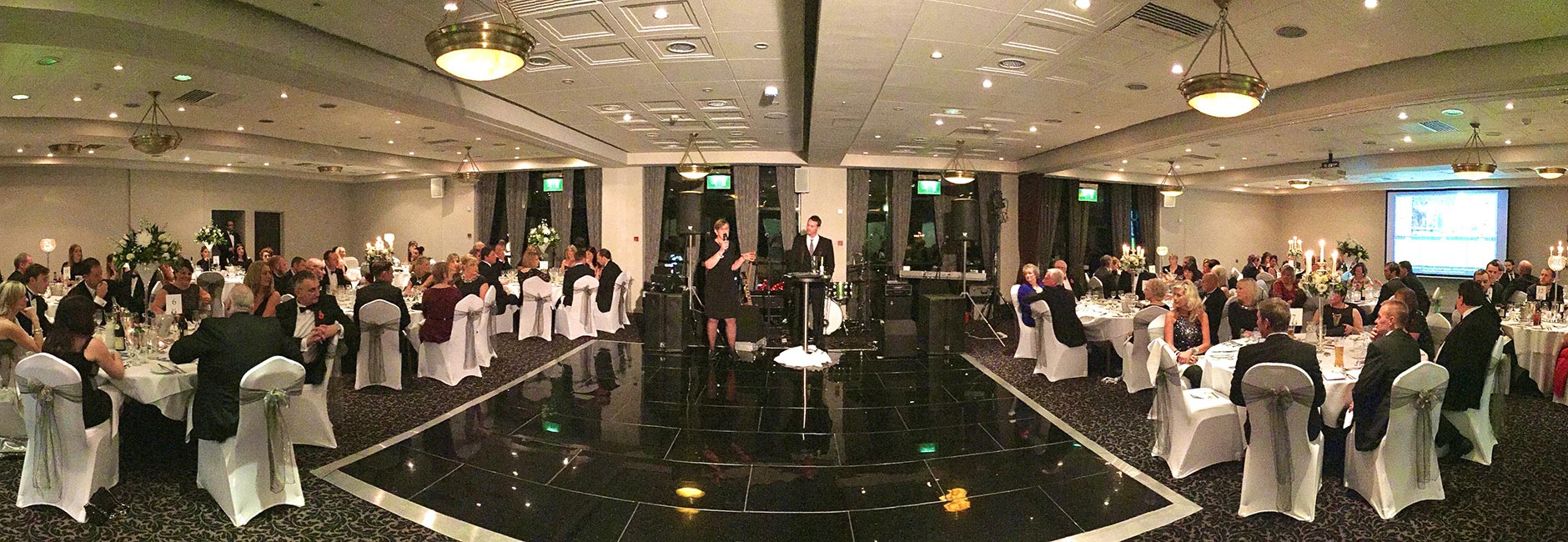 black and white wedding party - evening wedding reception