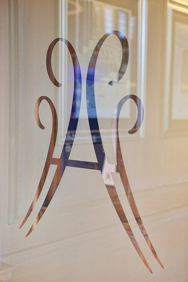 Abbey house logo on frosted glass door