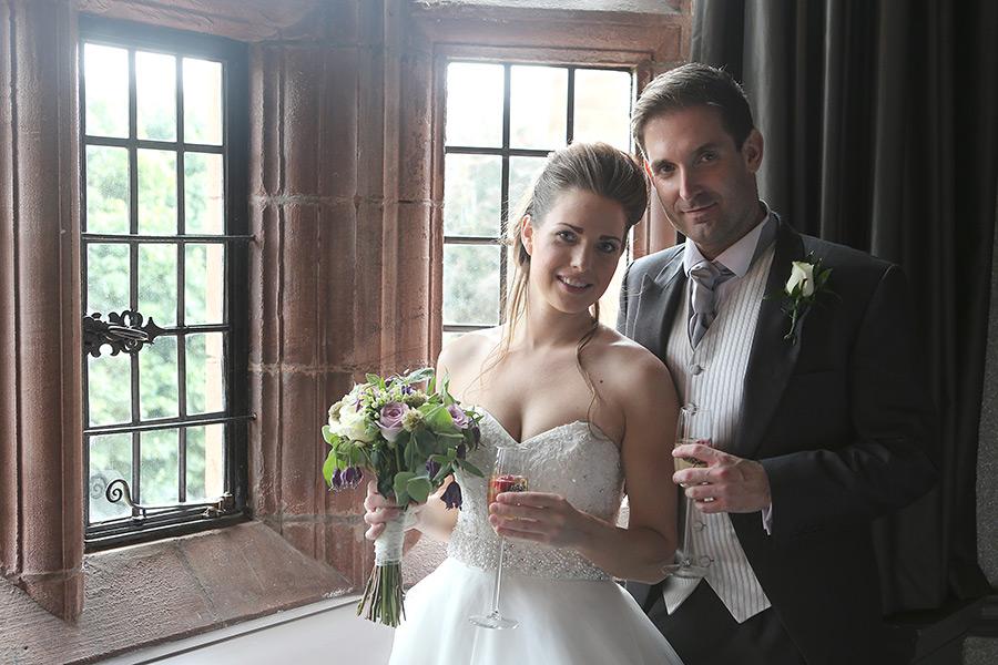 Wedding couple in the window