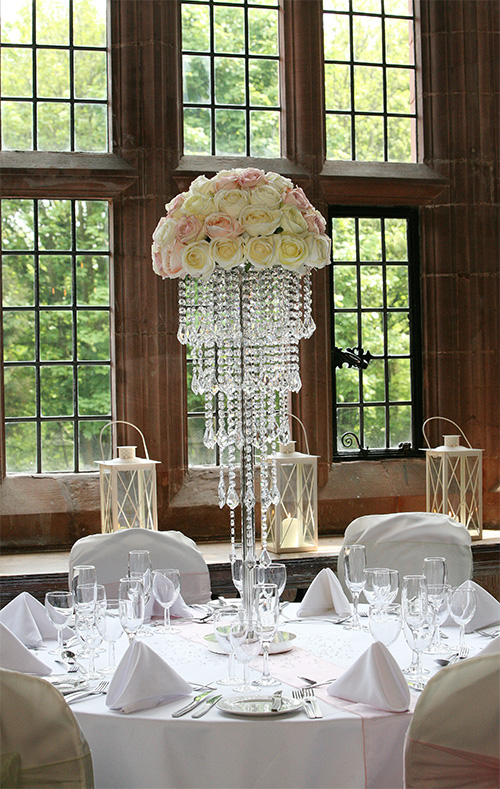 Glass table centre piece with flowers