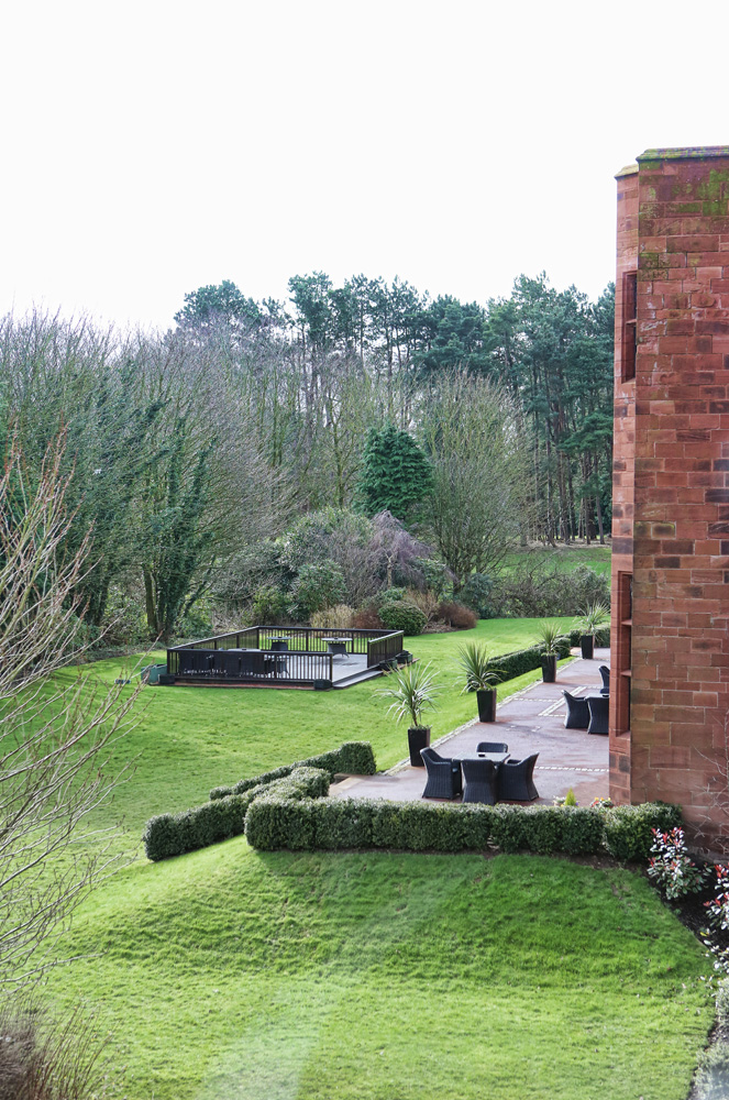 Rear Patio and gardens at The Abbey House hotel