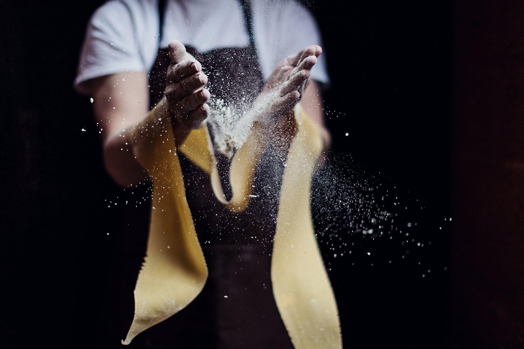 Hand making pasta
