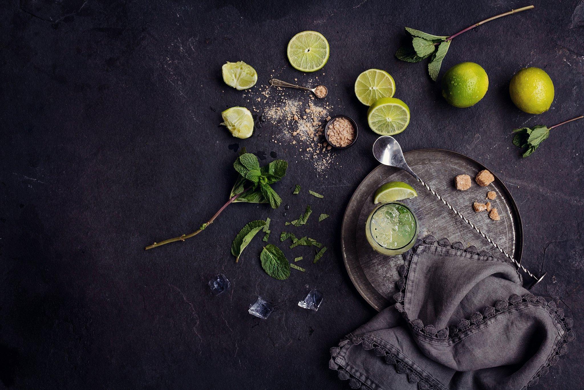 Cocktail Mixology - Lemons mint sugar and mixer