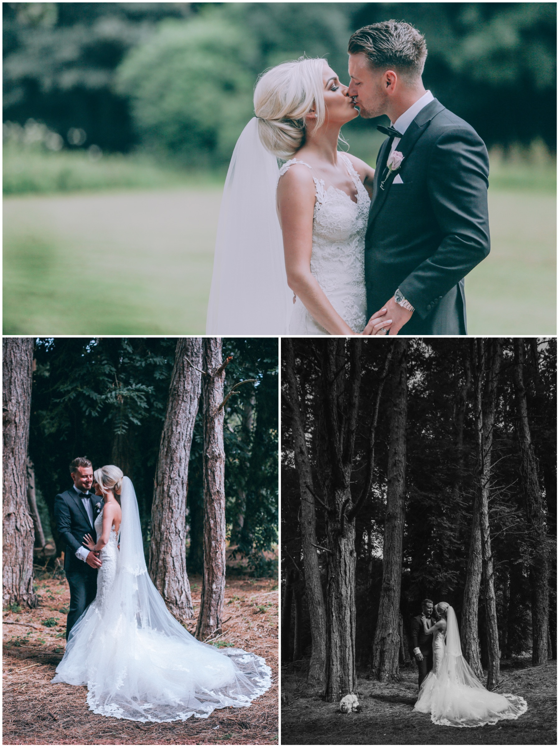 Wedding couple in the woods for photoshoot