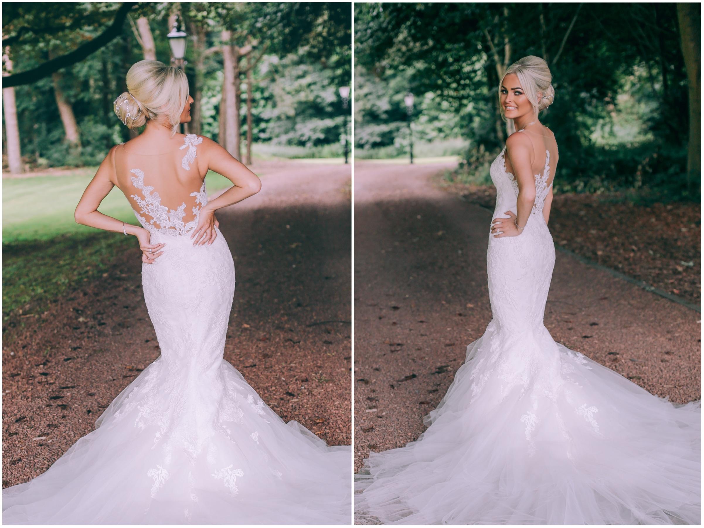 Bride in mermaid wedding dress