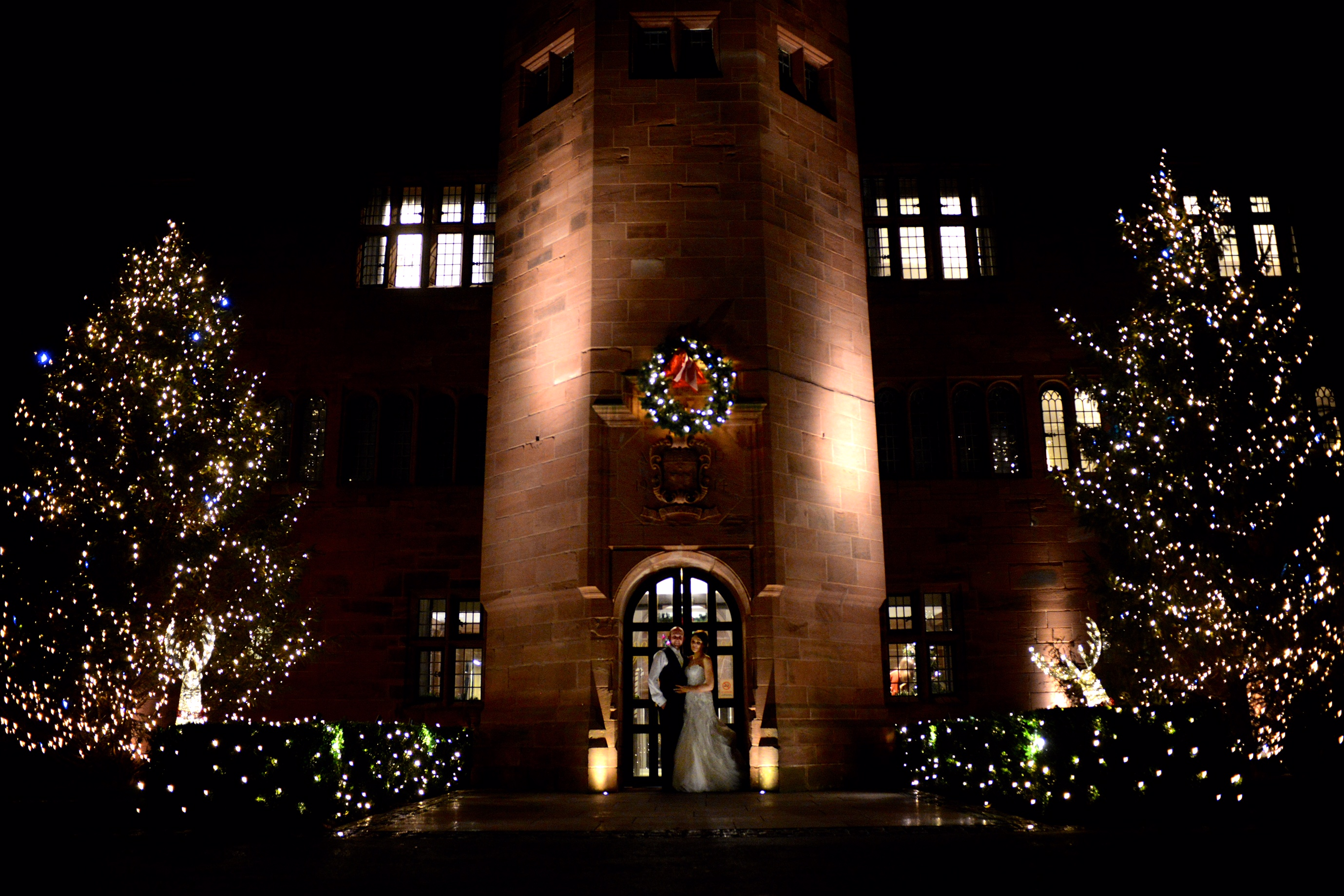wedding couple at abbey house hotel at night