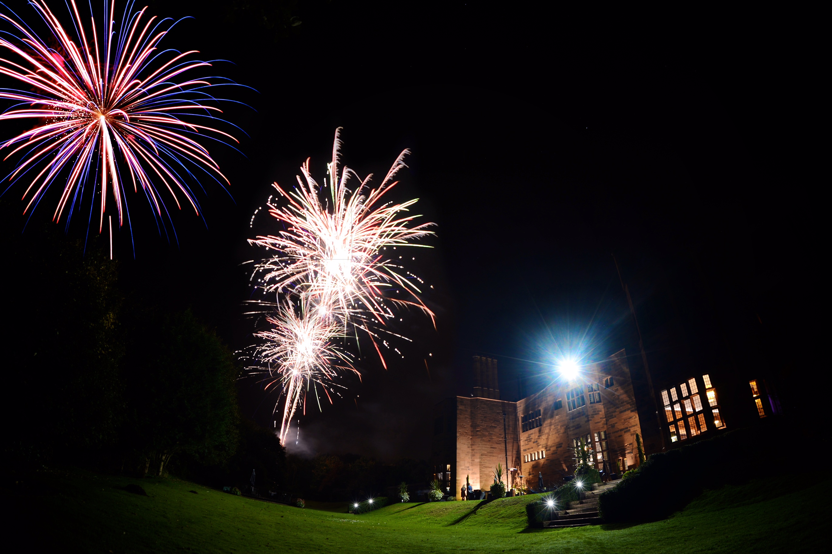 night time fireworks at Abbey house Hotel