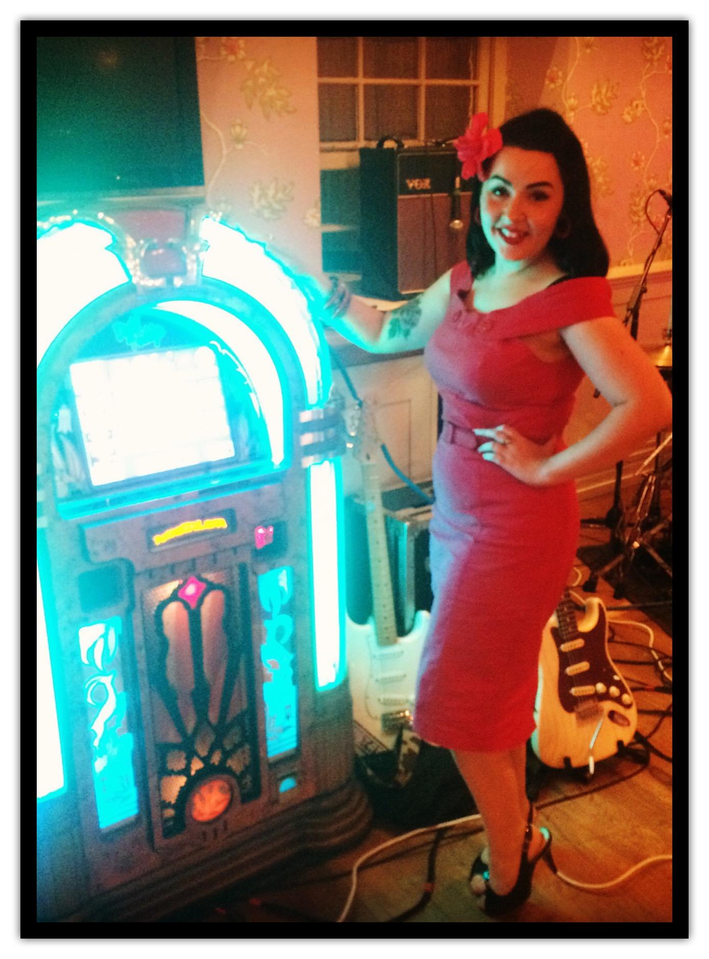 Becki Fishwick next to jukebox