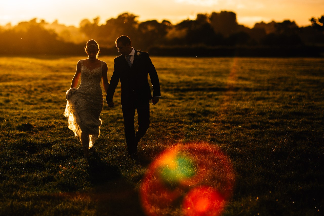 wedding couple at dusk