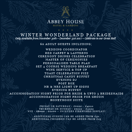 Winter Wedding wonderland package on offer