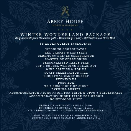 Winter Wedding wonderland package on offer