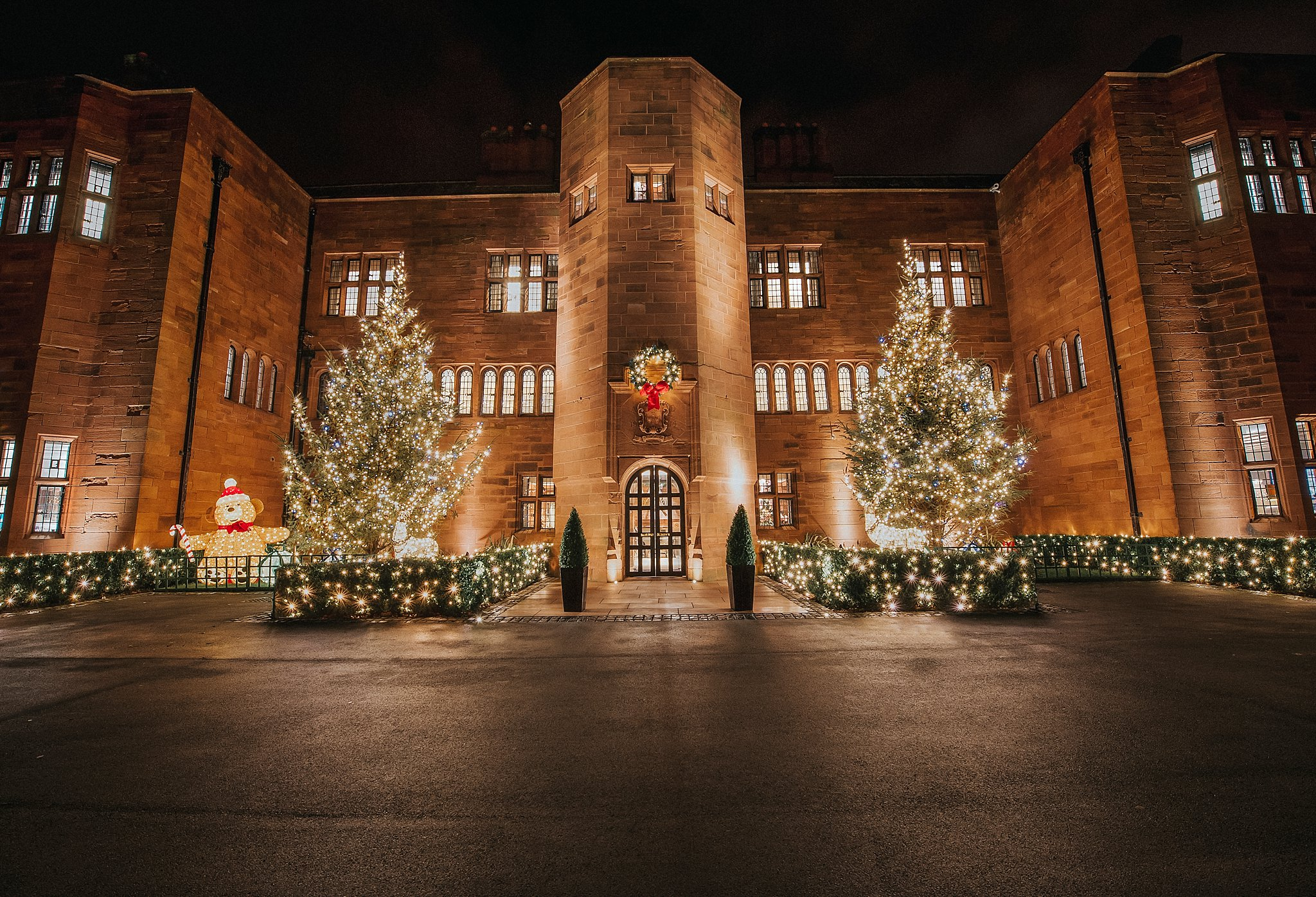 Front of Abbey House Hotel at Christmas Time