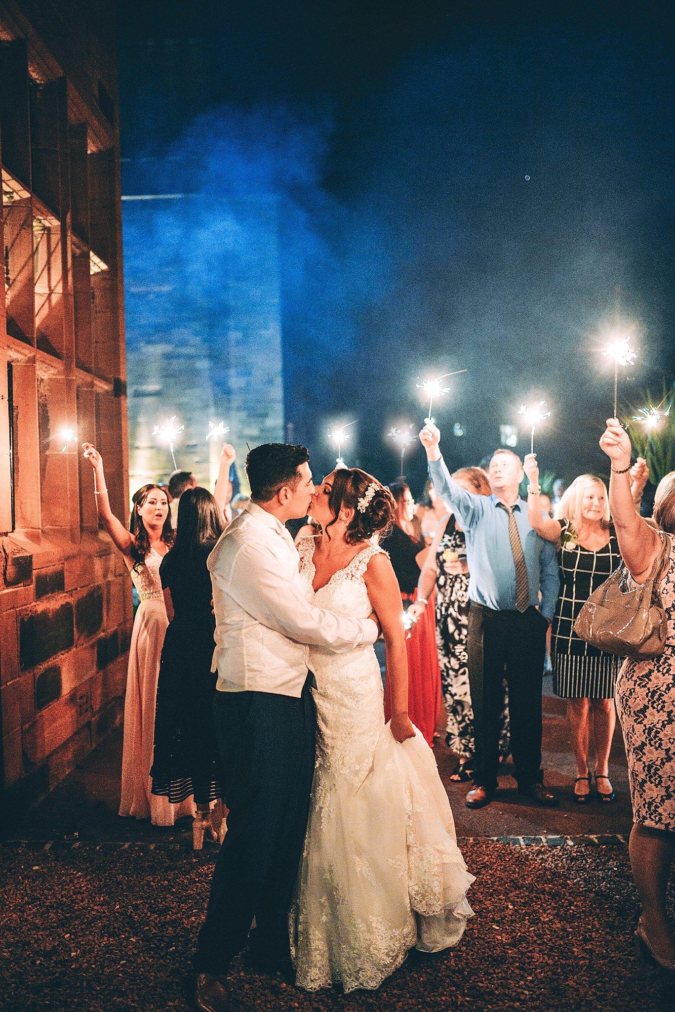 Wedding couple evening celebration